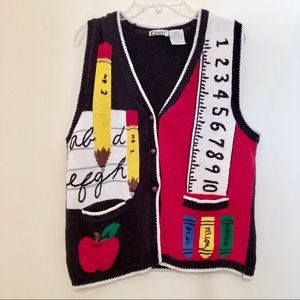 Vintage School Themed Sweater Vest